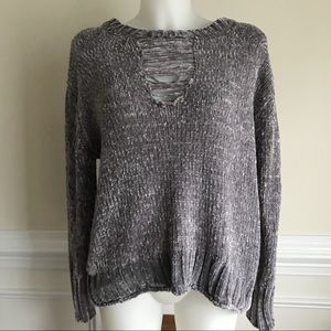 NWT Philosophy grey chenille distressed sweater